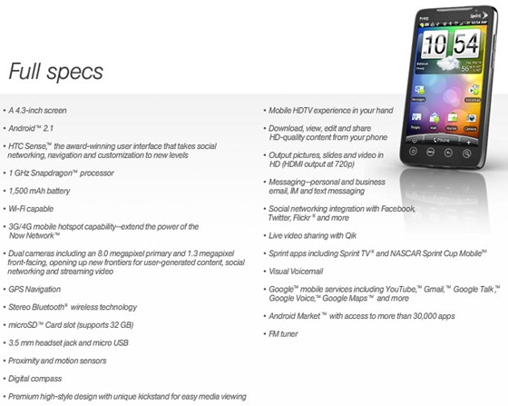 EVO4GSpecs thumb Everything you wanted to know about Sprint HTC EVO 4G – Phone Hardware, Price, Plans and Discounts