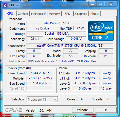 CPUz IB Ivy Bridge 3770K Gaming results vs Core i7 920 at 4.2GHz