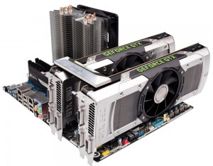 GTX 690 SLI1 300x234 The GTX 690 Arrives   Exotic Industrial Design takes the Performance Crown!