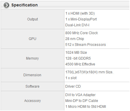 spec chart Sapphire HD 7750 Low Profile edition   for mini HTPC and light DX11 gaming